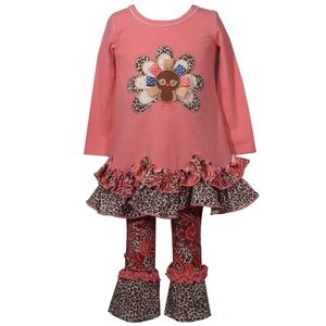 Girls Turkey Thanksgiving Outfit Set 2T 3T 4T New